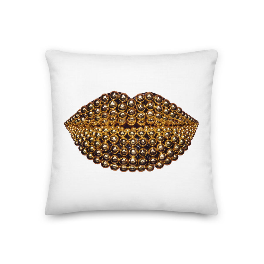 Golden Honey Beads Two-Sided White Pillow