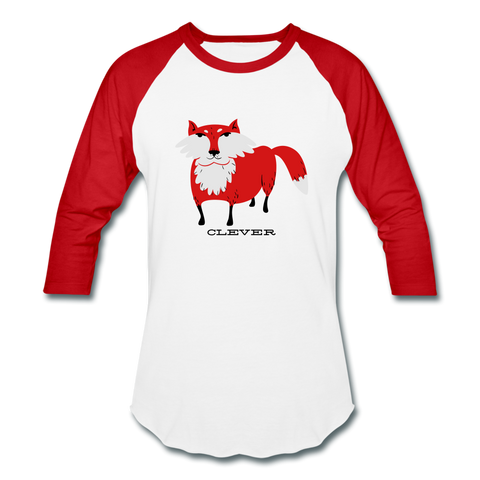 T-Shirt Renard <br> Manche Longue Homme - white/red