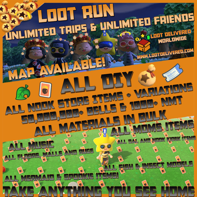 Animal Crossing New Horizons ⏱️ Loot Run!👟All Items and DIY | Bulk Materials & more! - LootDelivered.com