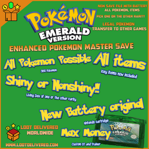 Unlocked Pokemon Emerald | 386 Shiny Pokemon | Brand New Battery | GBA DS |