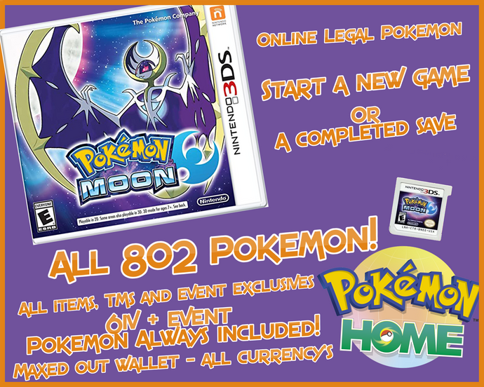 Pokémon Moon 3ds Preloaded Enhanced & Unlocked Game 807 Pokemon All Items and Money