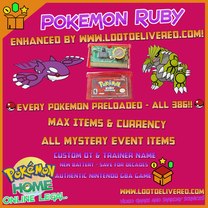 Enhanced Pokemon Ruby | 386 Shiny Pokemon | Brand New Battery | GBA DS |