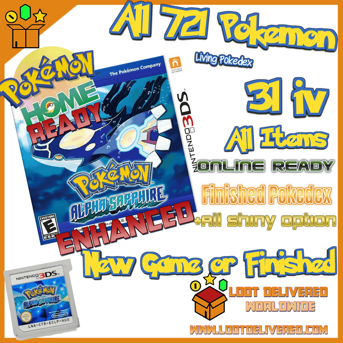 Pokemon Alpha Sapphire Enhanced with 721 Pokemon, 31 IV and all items - InfiniteStick