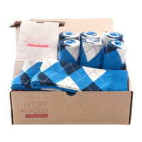GROOMSMEN SOCKS FOR WEDDING BLUE ARGYLE DRESS SOCKS WITH NAVY AND CREAM PATTERN WITH GIFT BAGS