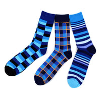 Assorted Pack (3 Pairs) Men's Casual Fancy Crew Socks