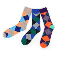 Assorted Pack (3 Pairs) Men's Casual Fancy Crew Argyle Socks