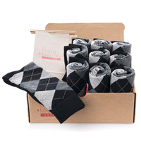 GROOMSMEN SOCKS FOR WEDDING BLACK ARGYLE DRESS SOCKS WITH NAVY AND CREAM PATTERN WITH GIFT BAGS