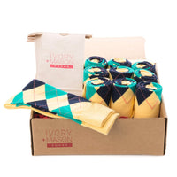GROOMSMEN SOCKS FOR WEDDING YELLOW ARGYLE DRESS SOCKS WITH NAVY AND CREAM PATTERN WITH GIFT BAGS