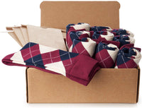 GROOMSMEN SOCKS FOR WEDDING BURGUNDY ARGYLE DRESS SOCKS WITH NAVY AND CREAM PATTERN WITH GIFT BAGS