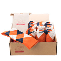 GROOMSMEN SOCKS FOR WEDDING ORANGE ARGYLE DRESS SOCKS WITH NAVY AND CREAM PATTERN WITH GIFT BAGS