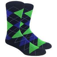 Navy Argyle Dress Socks with Green and Blue Pattern