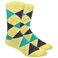 Yellow Argyle Dress Socks with Navy and Green Pattern