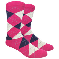 Fuchsia Argyle Dress Socks with Navy and Cream Pattern