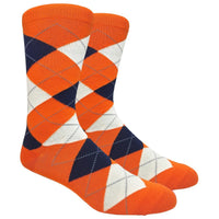 Orange Argyle Dress Socks with Navy and Cream Pattern