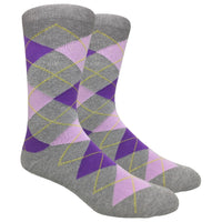 Heather Grey Argyle Dress Socks with Purple and Pink Pattern