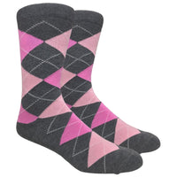 Charcoal Heather Argyle Dress Socks with Light Pink and Hot Pink Pattern