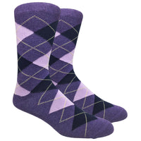 Purple Heather Argyle Dress Socks with Navy and Pink Pattern