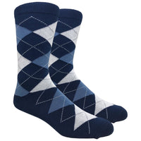 Navy Argyle Dress Socks with Blue and White Pattern