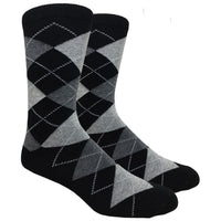 Black Argyle Dress Socks with Charcoal and Heather Grey Pattern