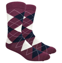 Burgundy Argyle Dress Socks with Navy and Cream Pattern