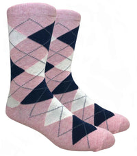 Pink Argyle Dress Socks with Navy and Cream Pattern