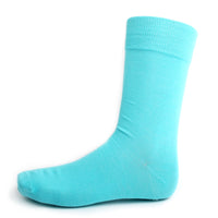 Turquoise Solid Dress Socks