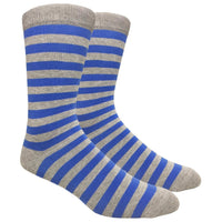 Heather Grey Dress Sock with Blue Stripe