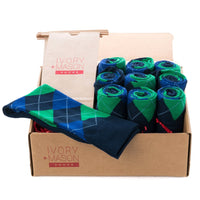 GROOMSMEN SOCKS FOR WEDDING NAVY ARGYLE DRESS SOCKS WITH GREEN AND BLUE PATTERN WITH GIFT BAGS