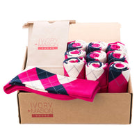 GROOMSMEN SOCKS FOR WEDDING PINK ARGYLE DRESS SOCKS WITH NAVY AND CREAM PATTERN WITH GIFT BAGS
