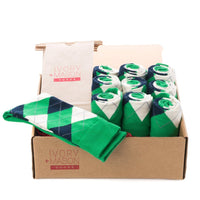 GROOMSMEN SOCKS FOR WEDDING GREEN ARGYLE DRESS SOCKS WITH NAVY AND CREAM PATTERN WITH GIFT BAGS