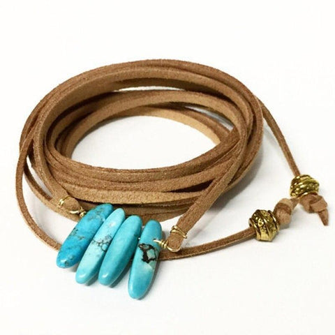 Collier Pierre Turquoise | Le-Geronimo-Store