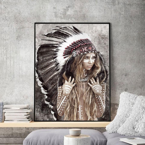 Tableau Femme Indienne Plume | Le-Geronimo-Store