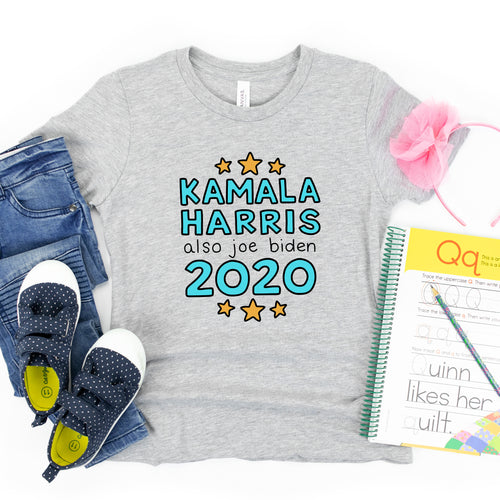 Kamala Harris & Also Joe Biden Kids' T-Shirt - feminist doodles