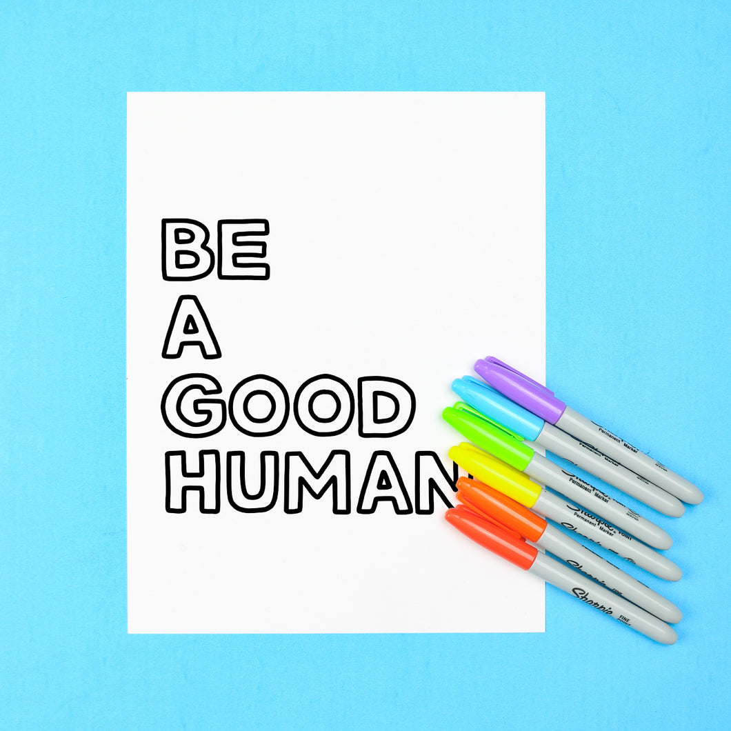 Be a Good Human Coloring Page