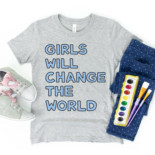 Girls Will Change the World Kids' T-Shirt - feminist doodles
