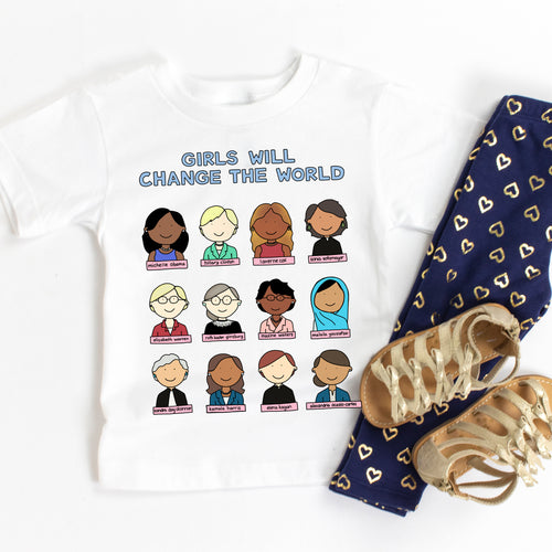 Girls Will Change the World Famous Women Kids' T-Shirt - feminist doodles
