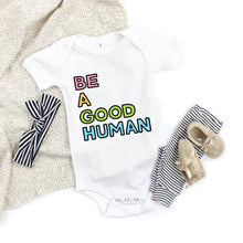 Load image into Gallery viewer, Be a Good Human Kids' T-Shirt - feminist doodles
