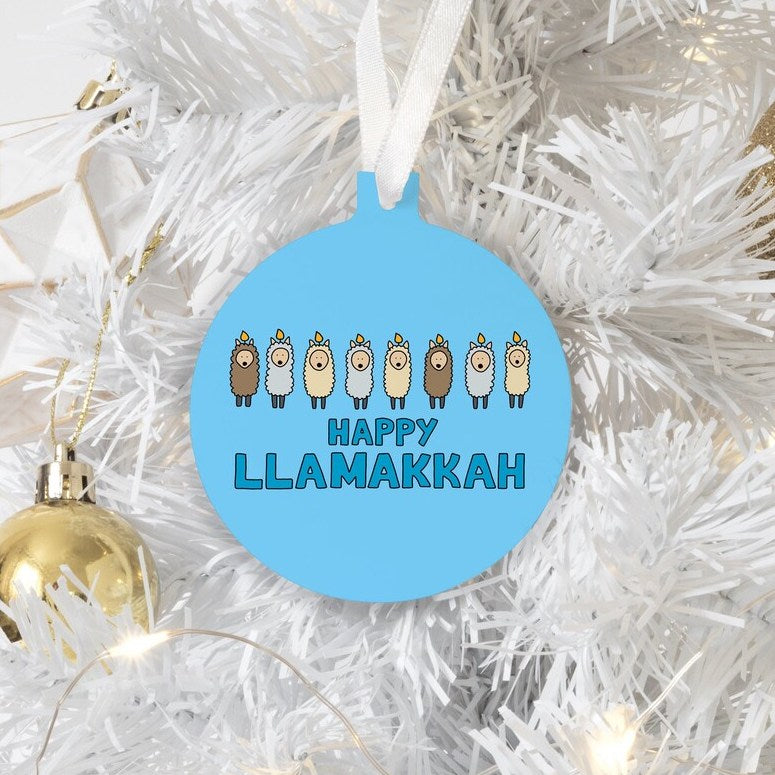 Happy Llamakkah Holiday Ornament