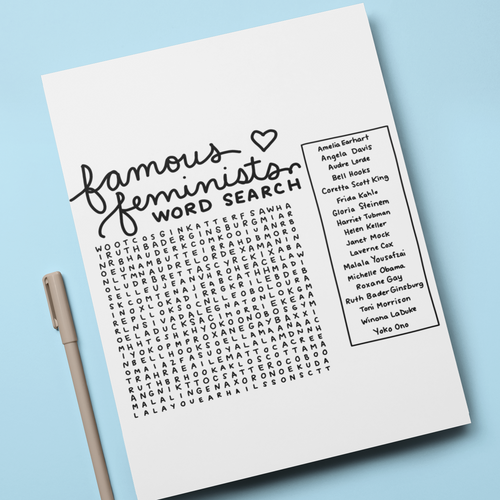 Famous Feminists Word Search - feminist doodles