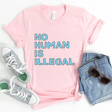 Load image into Gallery viewer, No Human is Illegal Adult T-Shirt - feminist doodles
