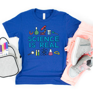 Science is Real Kids' T-Shirt - feminist doodles