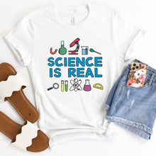 Load image into Gallery viewer, Science is Real Adult T-Shirt - feminist doodles