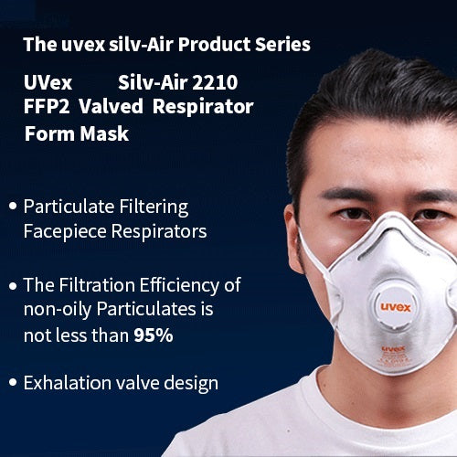 5 pcs • UVex Silv-Air 2210 FFP2V Valved Face Cover Safety Respirators Masks