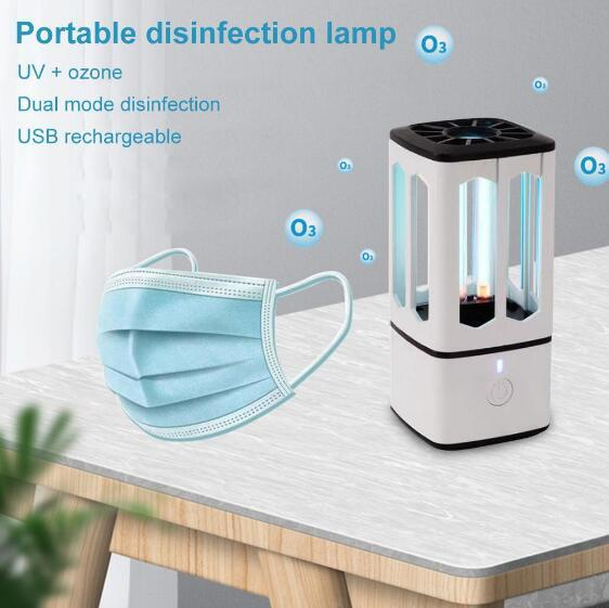 Quartz Ozone UVC Sanitizer Portable FaceMask, Phone Disinfection Lamp USB Led Germicidal Light For Face Mask, Car, Toilets, Cabinets, Bedsides, Office