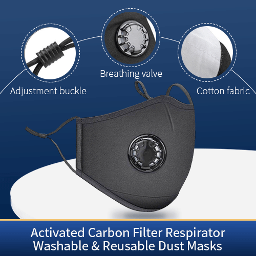 Washable & Reusable  Activated Carbon Air Filter Mask Anti Pollution Respirator Dust Masks Cotton Unisex Black Mask( With 10 filter pad)