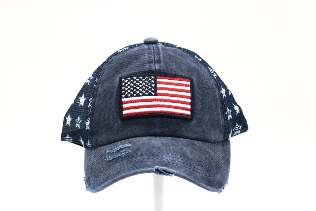 Distressed American Flag Star Hat