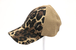 Leopard Distressed Stretch Mesh High Pony Hat