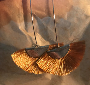 Copper Tassel Fan Earrings