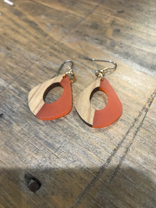 Orange Acrylic And Wood Earrings