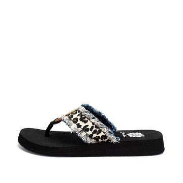 Yellowbox Fayth Cream Animal Print Flip Flops